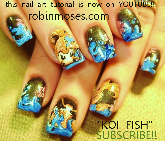 koi nail art orange blue bronze nail fish nail pink and teal wedding nail