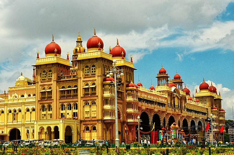 Corner and day view of the Mysore Palace at the time of Dasara Festival (Photo - Jim Ankan Deka) | 2013