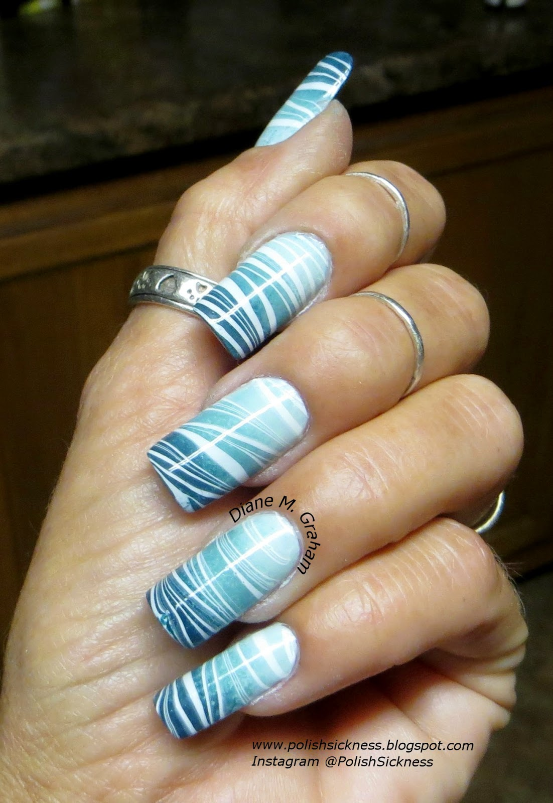 China Glaze Re-Fresh Mint, Loreal Now You Sea Me, Sinful Colors Blue Crushin gradient water marble