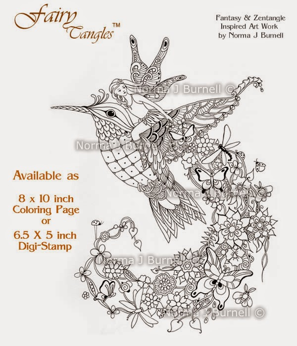 April Coloring Pages For Adults : Fairy tangles april