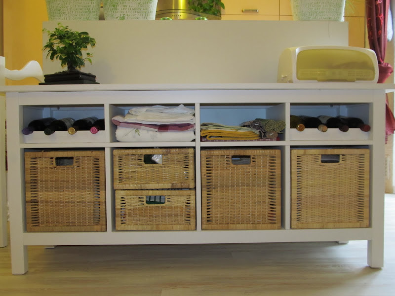 IKEA Hemnes buffet with bottle holders title=