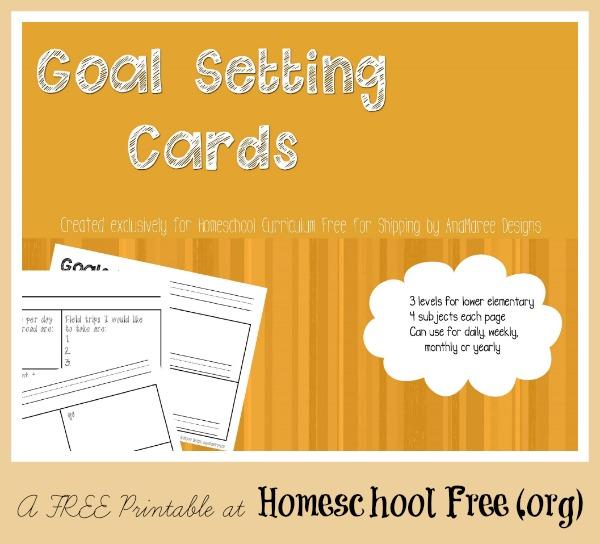 free printable homeschool goal-setting cards