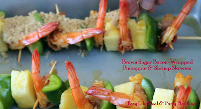 Brown Sugard Bacon-Wrapped Pineapple & Shrimp Kabobs by Easy Life Meal & Party Planning