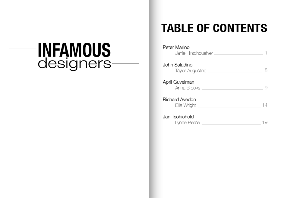Janie hirschbuehler in design title page table of contents for Html table title