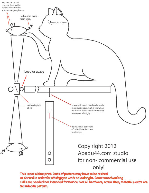 Free Patterns and ideas: cat chasing mouse whirligig