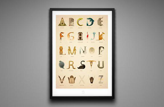 アルファベットを動物で表現したポスター