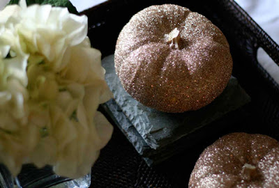 Glittery pumpkin fall centerpiece by With Style & Grace