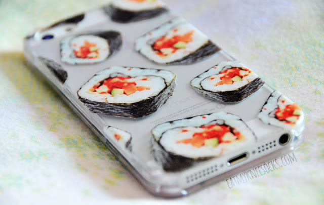 More photos of the clear printed iPhone case from Clash Cases, shown here in the Japanese sushi roll print.
