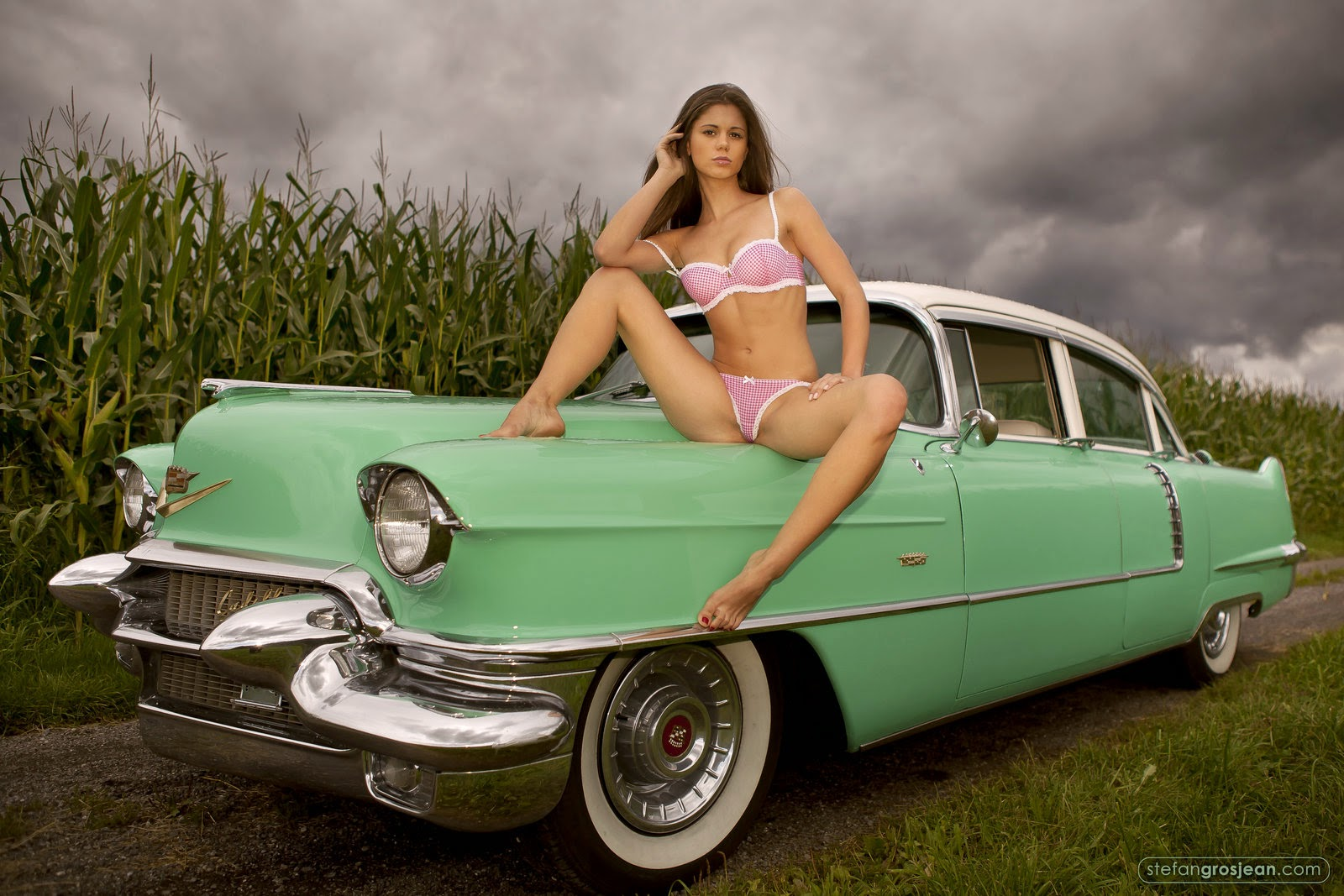 vintage classic cars and girls before the rain storm