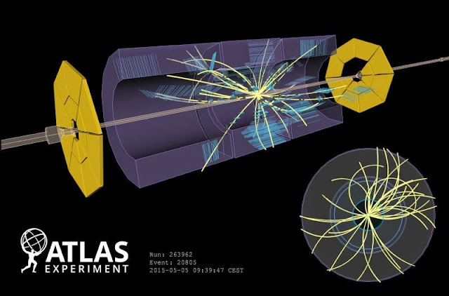 Proton beams collide for a total energy of 900 GeV in the ATLAS detector