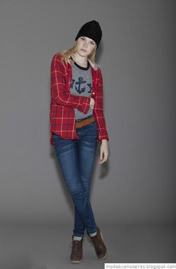 Looks Cook otoño invierno 2012. Indumentaria femenina 2012. Camisas a cuadros.