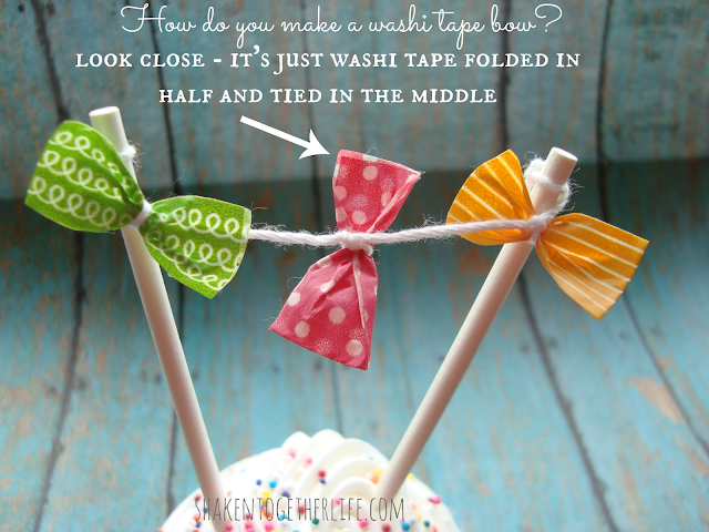 how to make a washi tape bow cupcake bunting at shakentogetherlife.com