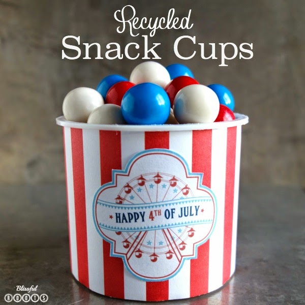 Recycled Snack Cups {Patriotic Version} @ Blissful Roots