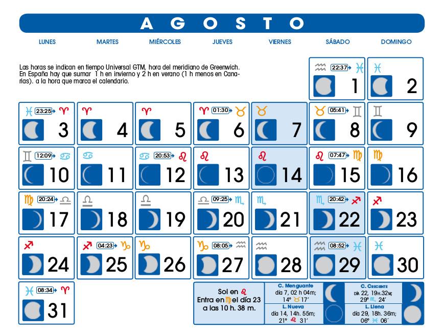 Centro astrologico venezolano calendario lunar agosto for Ciclo lunar julio 2016