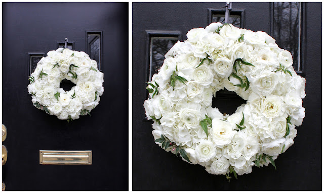 By Sweet Pea Floral Design all white floral wreath white ranunculus white hydrangea jasmine vine fresh floral wreath classic clean white for ann arbor michigan zingermans events on fourth wedding  roses and ranunculus small simple clean classic preppy