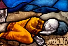 Stained glass Church portal : Jacob dreaming of the ladder