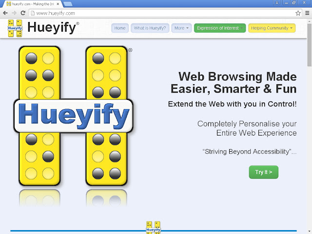 screenshot showing the main Hueyify website without the tab skip-to-content showing