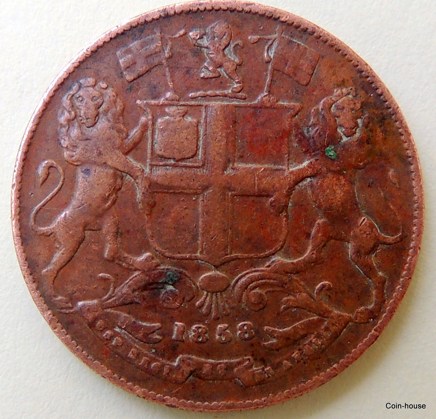India - British - East India Company rupee (1770-1862) -   ¼ Anna 1857-1858 Copper – 6.42 g – ø 25 mm KM# 463