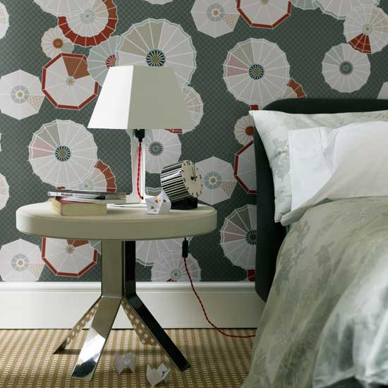 bold geometric floral wallpaper accent wall vintage bedroom entryway bathroom white blue screen. Black Bedroom Furniture Sets. Home Design Ideas