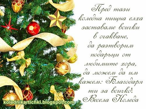 Пред тази коледна пищна елха заставаме всички в очакване, да разтворим подаръци от любимите хора, да можем да им кажем: Благодаря ти за всичко! Весела Коледа ти желая!