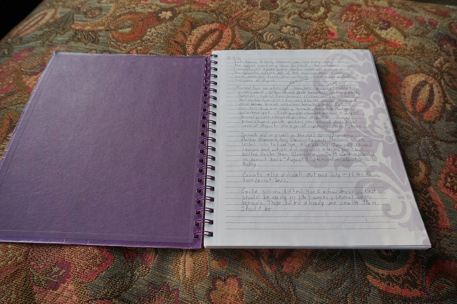 Use a journal to remember what happened in your garden each year