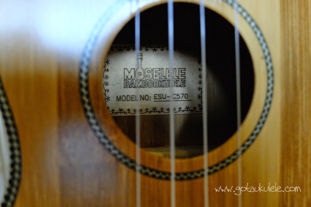 Moselele Solid Electro Bambookulele label