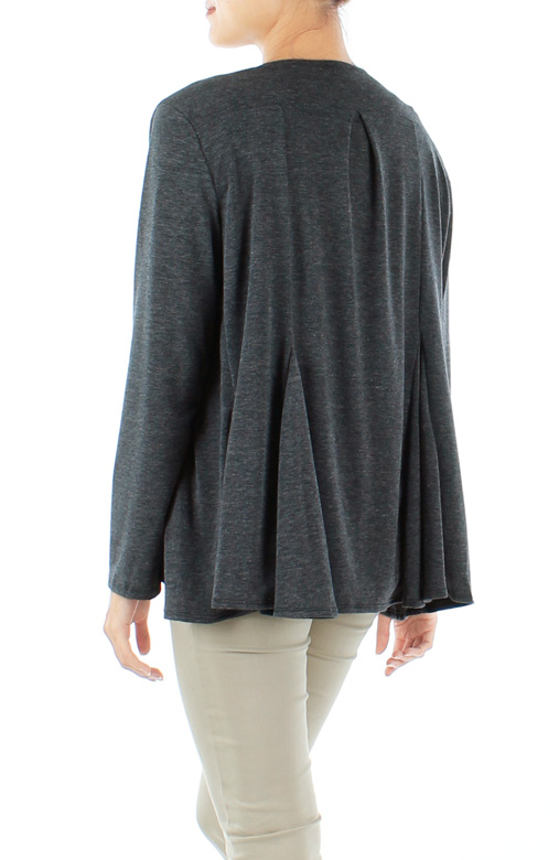 Macrame grey Waterfall Drape Cardigan with Pleat Detailing