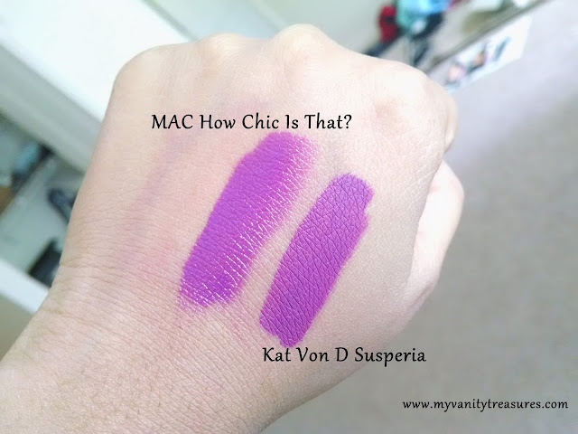 MAC How Chic Is That Dupe, Kat Von D Susperia Dupe, Kat Von D LUV Dupe