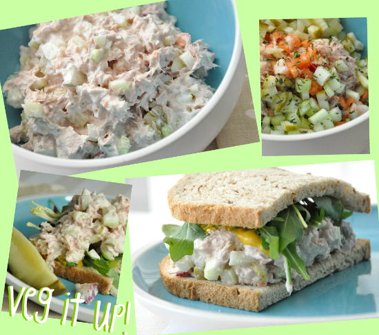 healthy vegetable tuna salad rye pickles celery onion radish carrot