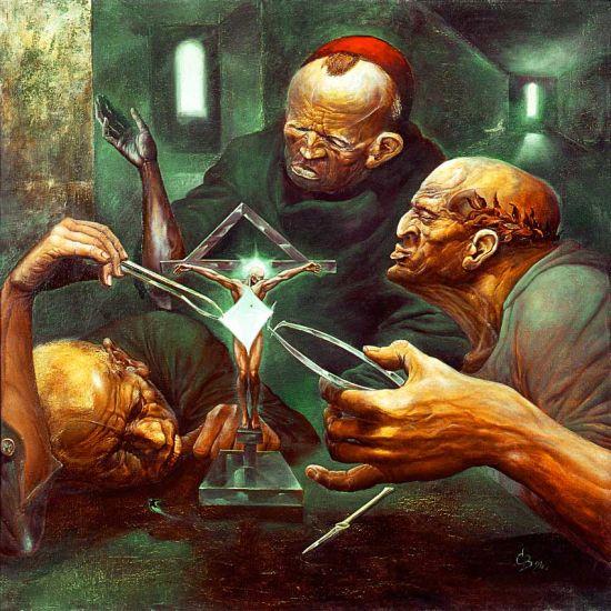 Viktor Safonkin pinturas surreais sombrias medievais mitológicas religião subconsciente Síndrome de Cristo