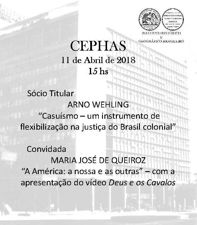 Conferência: Instituto Histórico Geográfico Brasileiro - 11 de abril de 2018