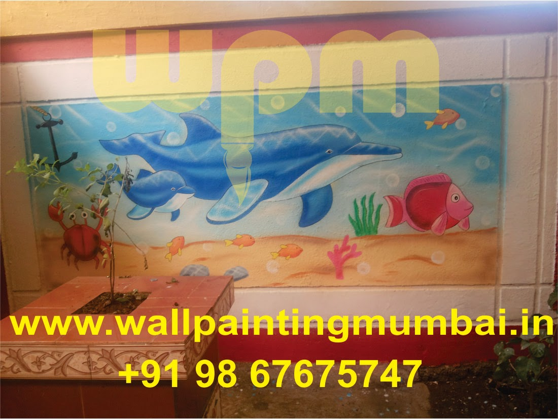 Play school wall painting day care classroom cartoon wall for Classroom wall mural