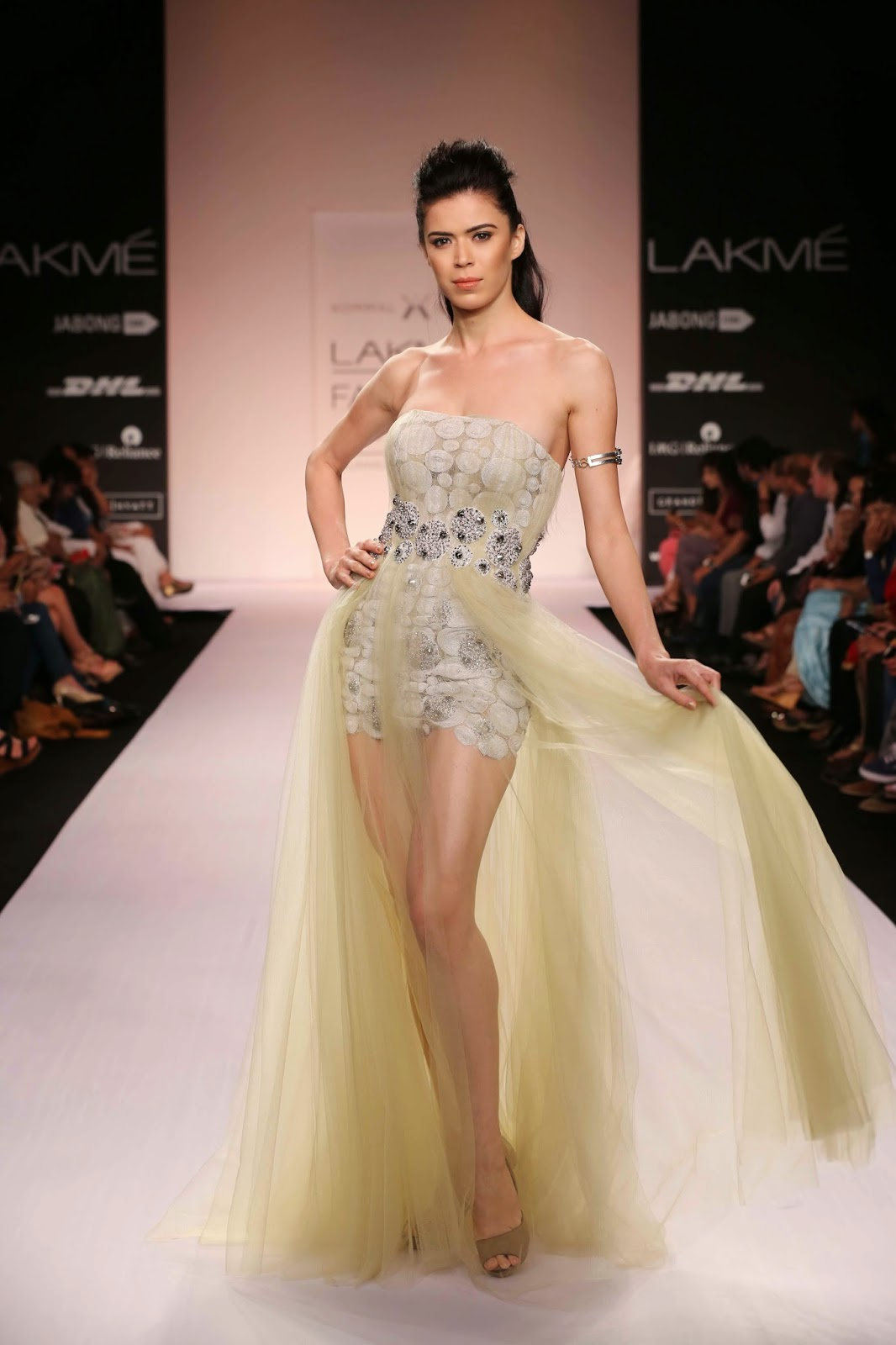 "It was celebration time at Lakmé Fashion Week Summer/Resort 2014 when Kommal Sood unveiled her collection called ""Champagne Bubbles""."