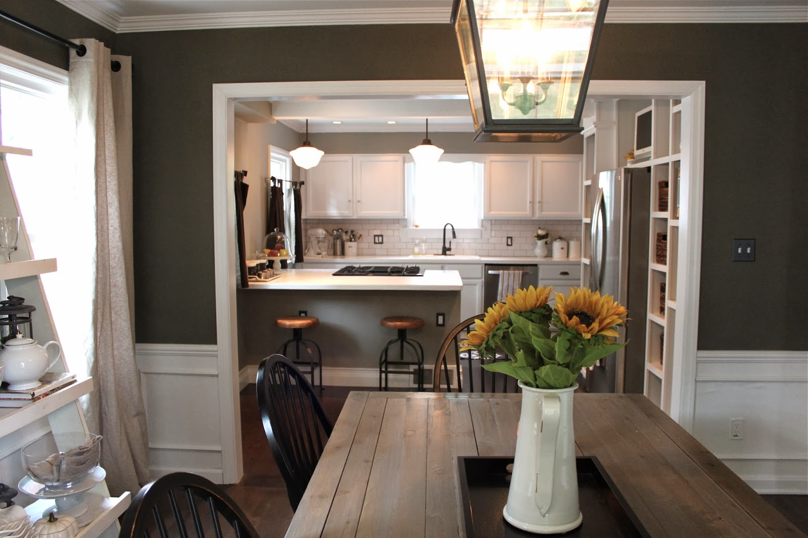 The fat hydrangea custom kitchen built ins 75 done for Build inn kitchen