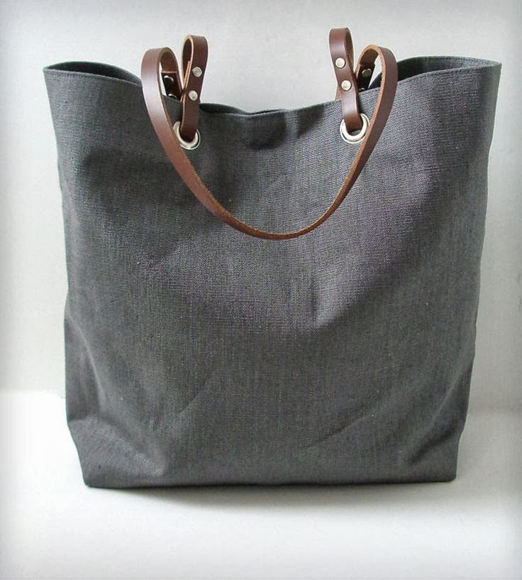 Linen and Leather Tote Bag - Gray,