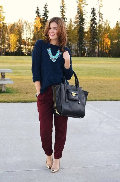 Guest outfit post - sister week maroon sweater navy crop ...