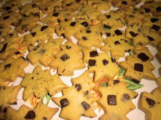 Chocolate shortbread cookies Christmas tree shape