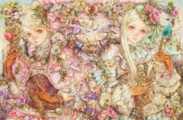 albino girl,anime girls,cute girls