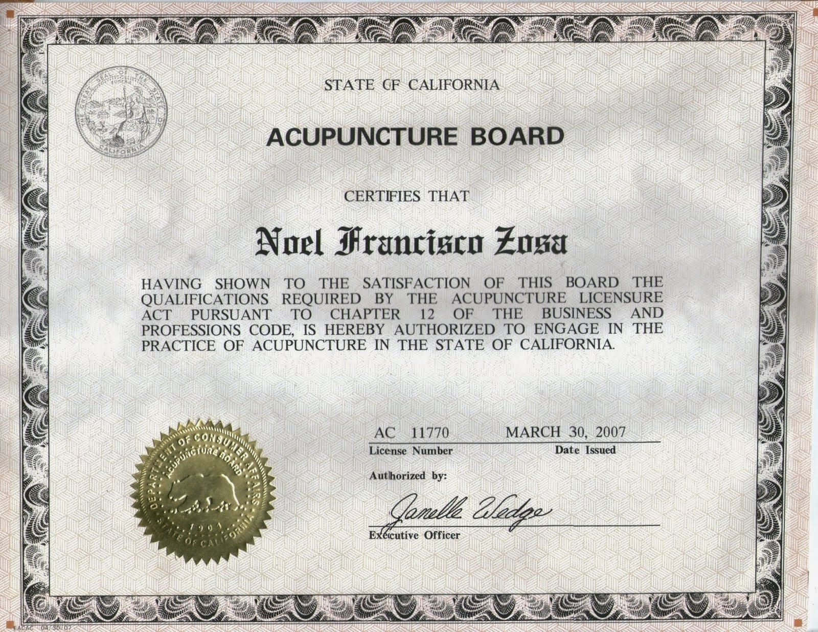 California USA Licensed Acupuncturist