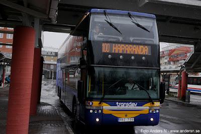 buss 100 till Haparanda och Umeå dubbeldäckare