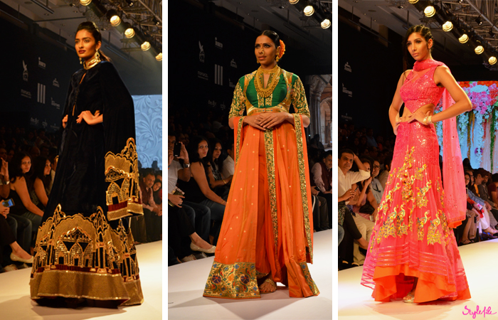 Neeta Lulla showcases her collection of traditional Indian wear with various embroidery and sequin work in a number of colours and fabrics at Lakme Fashion Week at the St. Regis in Mumbai