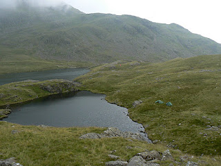 Looking down at our pitch next to Sprinkling Tarn