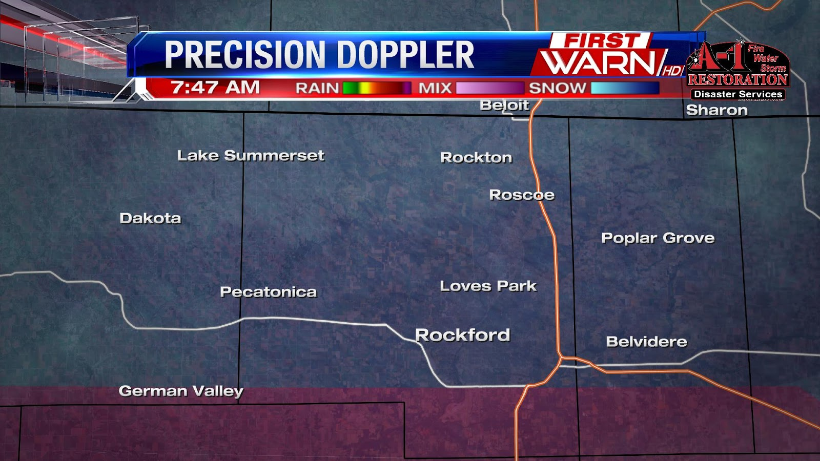 7 45 update band of moderate snow and sleet currently falling in the rockford area as well as near poplar grove and woodstock