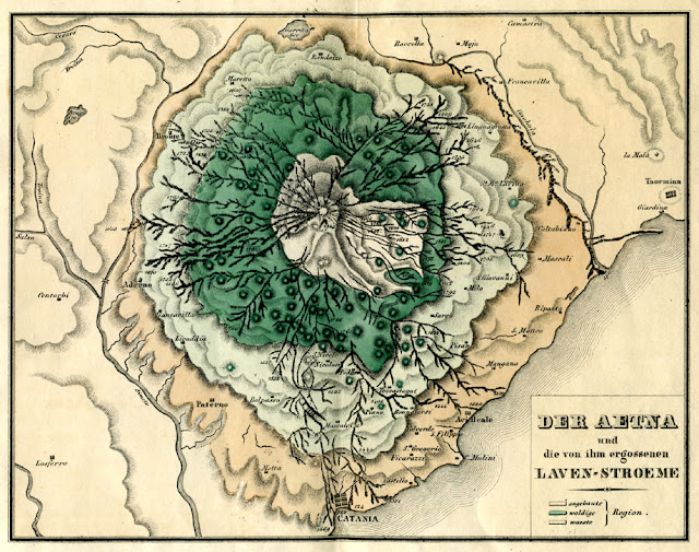 Der Aetna und die von ihm ergossenen Laven-Stroeme. Leonhard, Carl  E.: Vulkanen-Atlas zur Naturgeschichte der Erde Stuttgart 1844