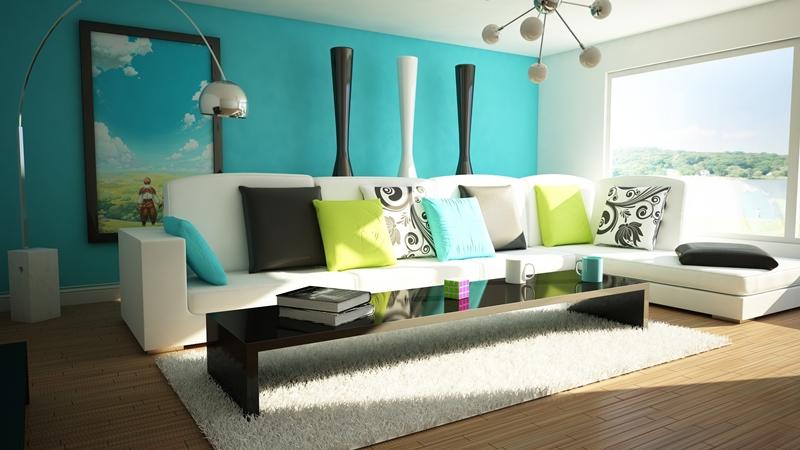 oturma odası dekorasyonu mavi beyaz