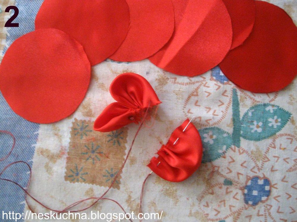 Цветы из ткани атласной