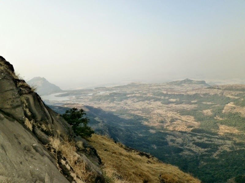 Close-up of Ghatghar Dam and Ghatghar Konkankada from Alang