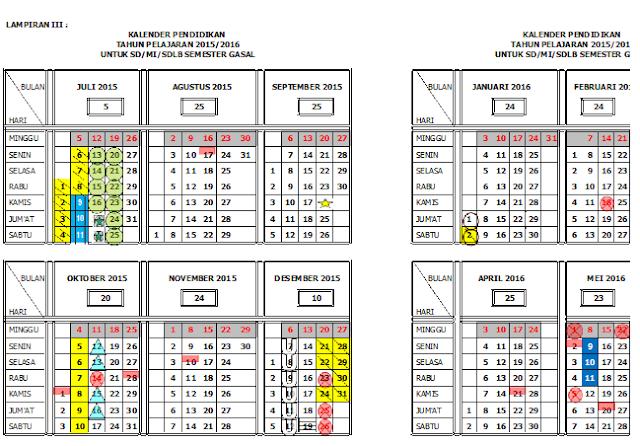 kalender pendidikan tahun pelajaran 2015/2016