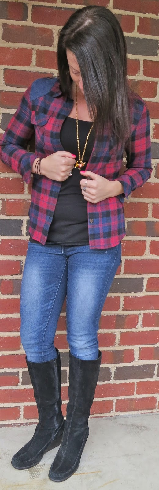 plaid blouse, skinny jeans, flannel, outfit, fashion