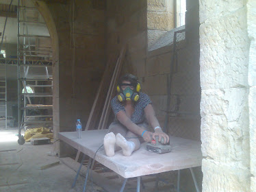 Thats Annabelle sanding the oak front door it took her all day well done